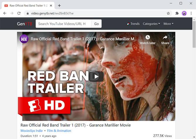 Fügen Sie gen vor dem blockierten Videolink hinzu