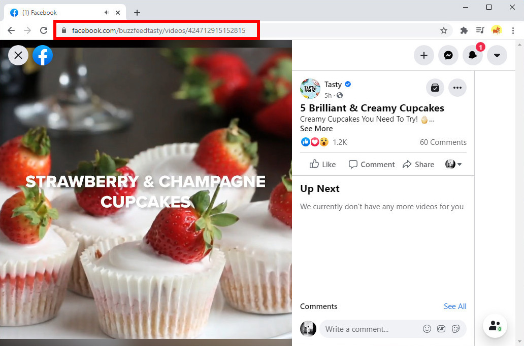 FacebookビデオURLをコピー