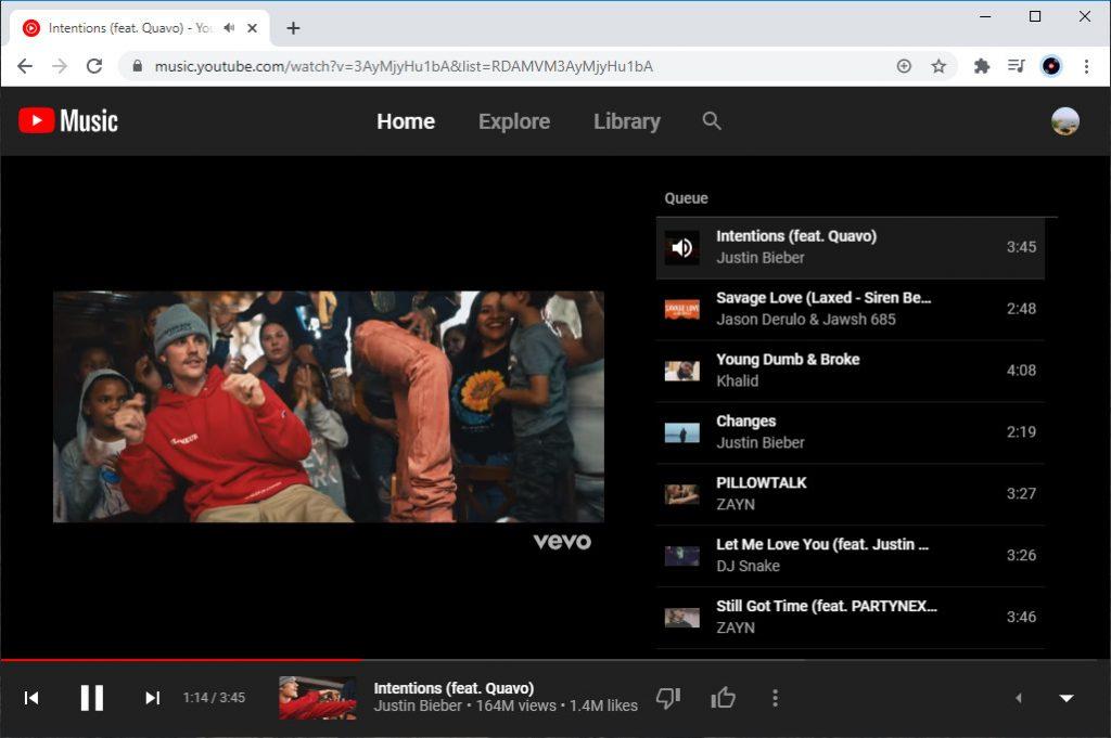 Alternativa a Pandora: YouTube Music