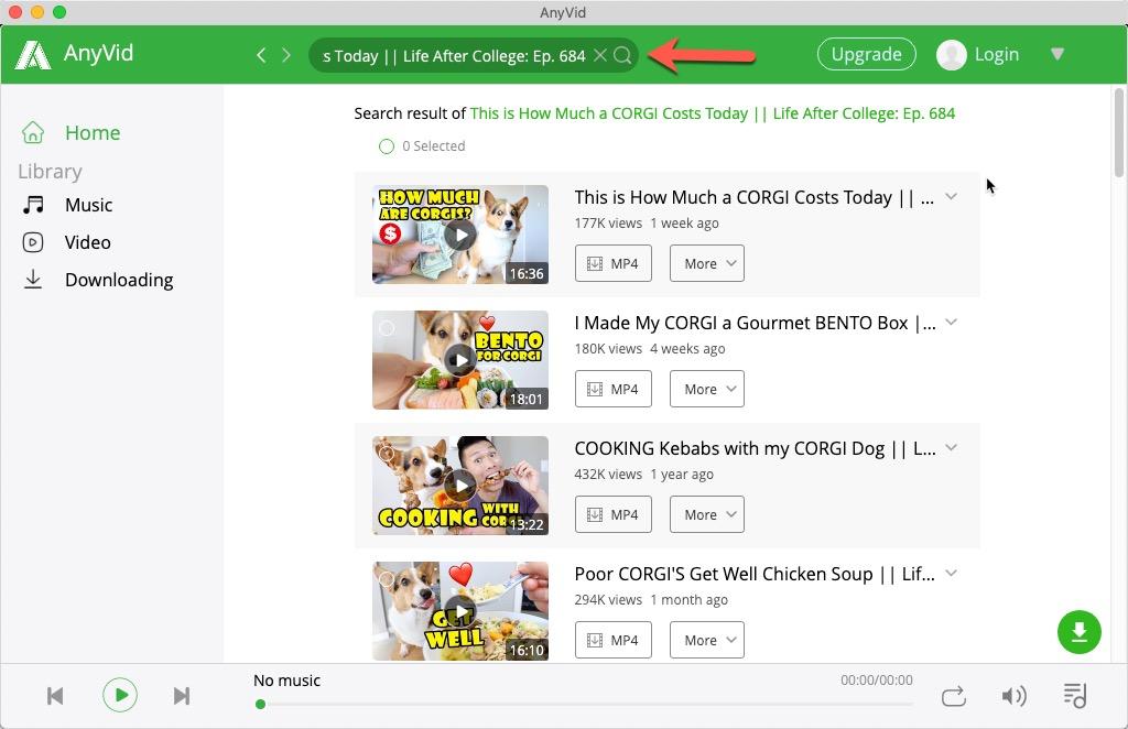 Suchen Sie auf AnyVid nach einem Video