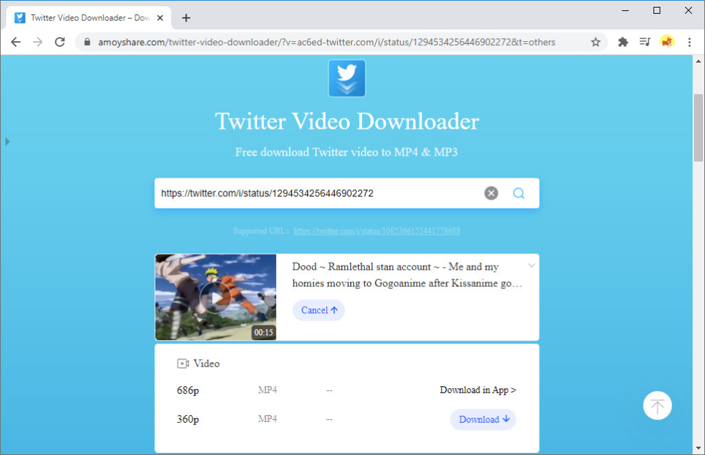 Download Twitter video on AmoyShare Twitter video downloader