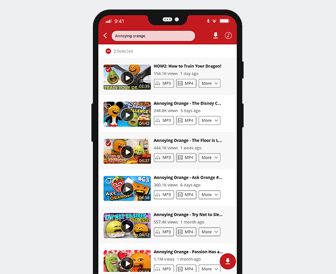 Preview videos or select videos and then download