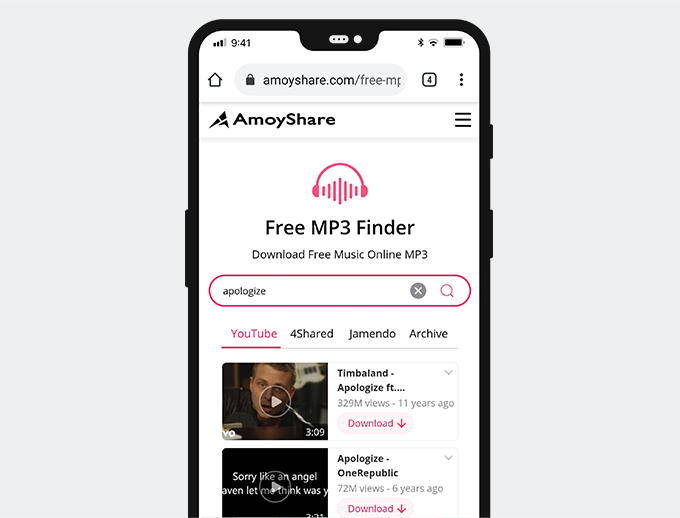 Search for music with Free MP3 Finder