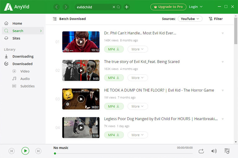 Select videos for batch download
