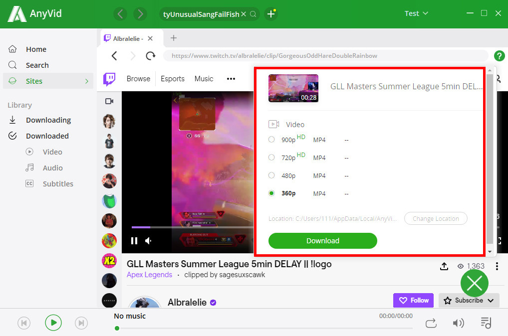 Twitch clips downloaded