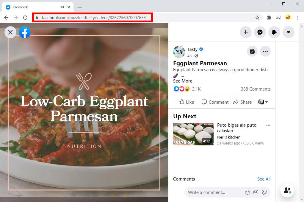 Copia l'URL del video FB