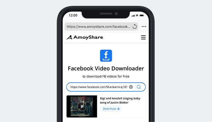 Besuchen Sie Amoyshare und suchen Sie nach FB-Videos