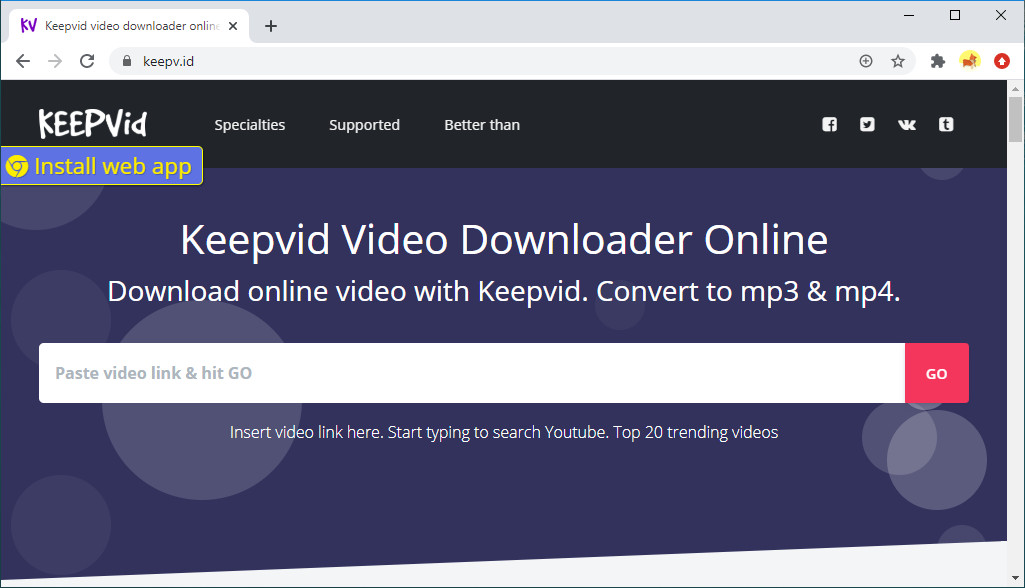 Downloader video Keepvid online
